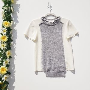 ASOS Knitted Gray Cream Crew Neck Blouse Size 2